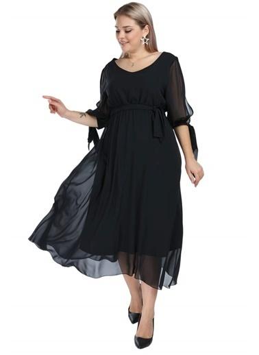 Angelino Butik Angelino Büyük Beden Beli Lastikli Kolu Bağcıklı Şifon Abiye Elbise NV4017 Siyah